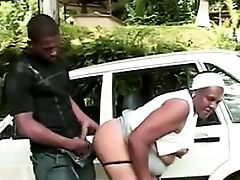 Black Granny Fucked By A BBC Outside